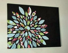 Super cute idea to do with my girl!  Painted Canvas with Accented Fabric Leaves30x40 by nifeydesigns2, $60.00