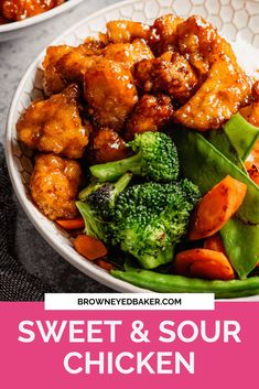 Homemade sweet and sour chicken is made with pan-fried chicken pieces coated in a delicious and sticky sweet and sour sauce. This baked sweet and sour chicken makes a wonderful weeknight dinner or a delicious meal-prep lunch. Serve this homemade sweet and sour chicken with rice, fried rice, stir-fry vegetables or cauliflower rice for a filling, better than takeout dinner you will want to have again and again. #sweetandsourchicken #chicken #chickenfdinner Entree Recipes, Asian Recipes, Cooking Recipes, Ethnic Recipes, Oriental Recipes, Chinese Recipes, Easy Recipes, Dinner Recipes, Food Dishes