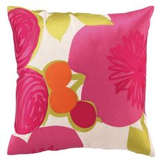 Trina Turk Multi Floral Pink Embroidered Pillow