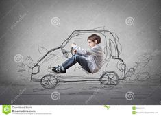Child Pretending To Drive A Drawn Car Stock Image - Image of drive, ambition: 39502107 Stock Image, Have Fun, Children, Drawings, Car, Filing Cabinets, Computer File, Ambition, Disk Drive