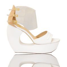 Gold Dot Online Store. Gwen Wedges (White)
