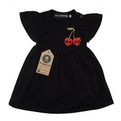 NEW Baby Girls Black Pink Leopard velvet Smock Top Dress Metal Gothic Rock Gift