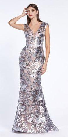 Cinderella Divine - Sequined Lace Deep V-neck Trumpet Dress Long Mermaid Dress, Flower Girl Gown, Bridesmaid Dresses, Prom Dresses, Bride Dresses, Trumpet Dress, Printed Gowns, Gowns For Girls, Applique Dress
