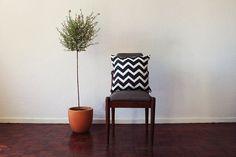 Black Chevron Cushion by Zana