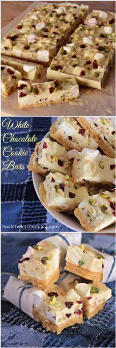 GlutenFree White Chocolate Cookie Bars {by Fox in the Kitchen}. ☀CQ #glutenfree #cookies #bars
