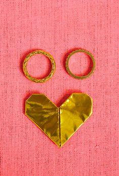 Pink heart gold rings | Jen + Kat | Los Angeles Stylish Same Sex Wedding | Jenn Emerling Weddings