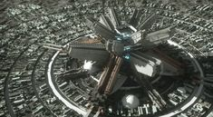 """In a distant future. Where earth is over populated and the moon turned into a sprawling city. There is a big transportation hub that makes use of railguns to """"fire"""" transport ships back to earth or to other planets, saving a lot of fuel and Space Fantasy, Fantasy City, Sci Fi Fantasy, Fantasy World, Futuristic City, Futuristic Technology, Futuristic Architecture, Space City, Science Fiction Art"""