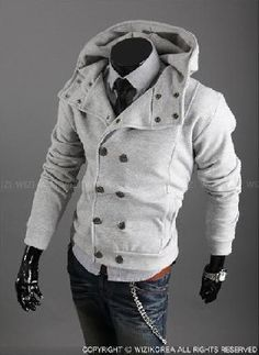 Modern Men's Pea Coat with Hood