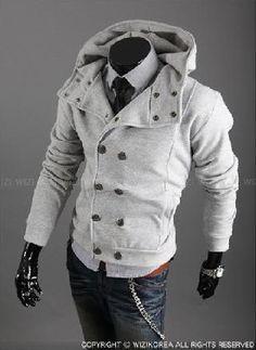 Modern Men's Pea Coat with Hood