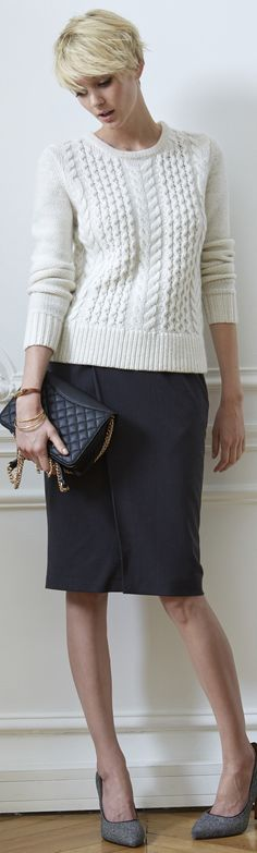 Pencil skirt and soft sweater - a good combination - http://www.boomerinas.com/2015/02/16/classic-tailored-fashion-over-40-interview-with-the-style-md-for-women-jennifer-connolly/