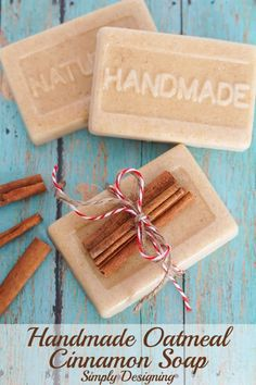 How to Make Soap - An Easy Recipe with Cinnamon and Oatmeal | Homemade soap recipes Home made soap Soap recipes Homemade Soap Recipes, Homemade Gifts, Diy Gifts, Homemade Bar, Soap Making Recipes, Diy Cosmetic, Diy Savon, Homemade Beauty Products, Soap Molds