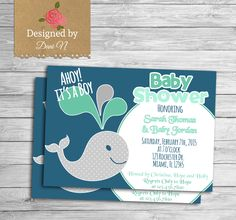 New to DesignedbyDaniN on Etsy: Baby Shower party invitation navy and mint under the sea baby whale invite its a boy party navy sailing invite customizable (15.00 USD)