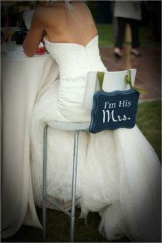 """I'm his Mrs."" I love this. I want one and I want his to say ""I'm her Mr."" So adorable and we can reuse these for the house to put next to a wedding picture or above the bed"
