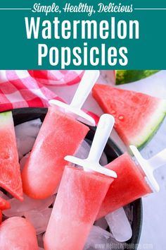 Treat yourself to this homemade Watermelon Popsicles recipe! These healthy Watermelon Ice Pops are easy to make with fresh watermelon . Breakfast Popsicles, Banana Popsicles, Smoothie Popsicles, Smoothies, Watermelon Lollies, Watermelon Recipes, Ice Lolly Recipes, Healthy Snacks For Kids, Healthy Food