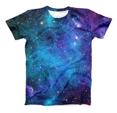 The Azure Nebula ink-Fuzed Unisex All Over Full-Printed Fitted Tee Shirt from DesignSkinz