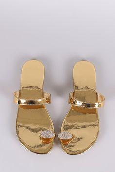 37d68956ec40 Liliana Jewel Accent Toe Ring Slip On Patent Flat Sandal Swimwear