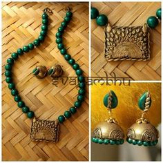 Funky Jewelry, Jewelry Model, Jewelry Art, Antique Jewelry, Jewelry Design, Jewelry Ideas, Fashion Jewelry, Terracotta Jewellery Making, Terracotta Jewellery Designs
