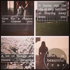 America Singer and Maxon Schreave from The Selection! Love their quotes!! ❤️❤️