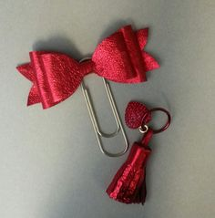 Giant 4 leather bow paperclip bookmark and by luxurycardstore