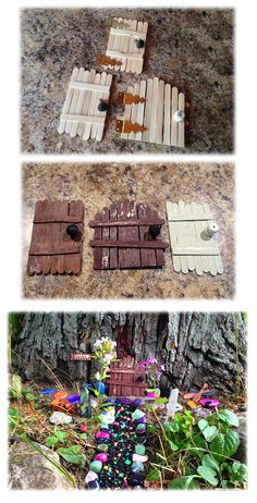 Fairy doors as easy as one two three. Glue some popsicle sticks together and p. Fairy doors as e Fairy Garden Pots, Fairy Garden Furniture, Fairy Garden Houses, Gnome Garden, Fairy Crafts, Garden Crafts, Garden Projects, Garden Ideas, Diy Fairy Door