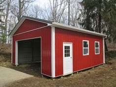 """Building Dimensions: 24' W x 24' L x 10' 4"""" H (ID#: 423) 24' Standard Trusses, 4' on Center, 4/12 Pitch, For More Details: http://pioneerpolebuildings.com/portfolio/project/24-w-x-24-l-x-10-4-h-id-423-total-cost-contact-us"""