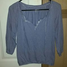 Ann Taylor Loft top Ann Taylor Loft stripped top it has a lil flaw in where the buttons at, but it's not really visible this is so comfy fabric good for spring and summer size xs, but can be fit to small too price reflects wear... LOFT Tops Blouses