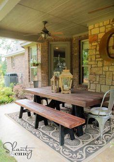 DIY Furniture : DIY Sawhorse Outdoor Bench