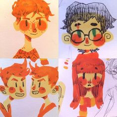 Happy Birthday JK Rowling!! I'm a little late but here are some little Copic doodles of Harry and some Weasley children~⭐️ #harrypotter #jkrowling #birthday #copic #drawing #fanart #illustration #marker #doodle #sketchbook #cute #kawaii #artistsofinstagram #art