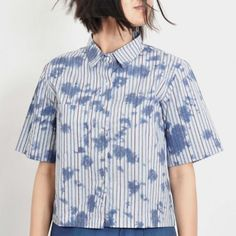 Blue Ink Blot Poplin Shirt