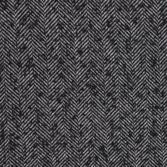 Italian Black Herringbone Wool-Blend Suiting - Boucle - Wool - Fashion Fabrics