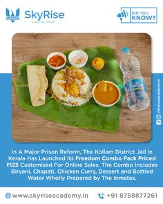 In A Major Prison Reform, The Kollam District Jail in Kerala Has Launched Its Freedom Combo Pack Priced Customised For Online Sales. The Combo Includes Biryani, Chapati, Chicken Curry, Dessert and Bottled Water Wholly Prepared by The Inmates. Bottled Water, Chapati, Chicken Curry, Online Coaching, Biryani, Online Sales, Fresh Rolls, Kerala, Prison