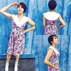 Vintage 70s Does 50s Floral Sailor Collar Dress M $27.00 https://www.etsy.com/listing/196430632/vintage-70s-does-50s-floral-sailor-collar?ref=shop_home_active_2