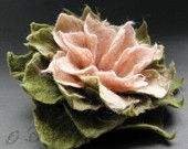 Antiqued Blush Pink and Olive Green Felt Flower Pin Brooch