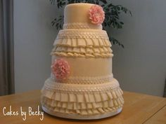 And here's the full view of my State Fair entry for 2011! I really enjoyed the challenge this cake presented! Loved making this lovely ruffled wedding cake! I took a design by #SweetPudgyPanda and built on it.