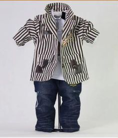 Light Coffee Striped Kids Clothes Set
