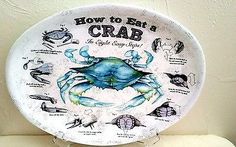 CRAB PLATTERS PLATES and BIBS Set of 4 HOW TO EAT A CRAB NEW