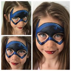 Batman isnt just for boys. Girls can rock a super cool batgirl lipstick and all! Great work by New Creation Face and Body Art Batgirl Face Paint, Superhero Face Painting, Girl Face Painting, Face Painting Designs, Body Painting, Face Paintings, Face Paint Party, Batman Girl, Face Art
