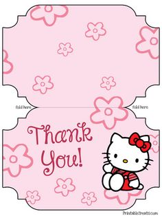 Free Printable Hello Kitty Thank You Cards from PrintableTreats.com