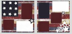 Patriotic Scrapbook Pre Cut 2 Page Layout w Pictures Instructions   eBay