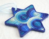 Star of David Ornament in Blue, Teal, White Polymer Clay Filigree