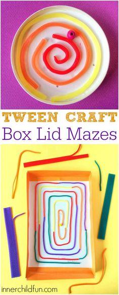 Craft - Box Lid Mazes Tween Craft - Box Lid Mazes - my 11 year old will love this!Tween Craft - Box Lid Mazes - my 11 year old will love this! Creative Activities For Kids, Indoor Activities For Kids, Fun Crafts For Kids, Creative Kids, Craft Activities, Projects For Kids, Diy For Kids, Crafts To Make, Holiday Program