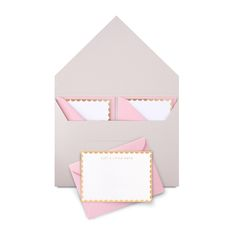 Add a touch of personal style with this beautiful 'just a little note' notelet set. With this Studio Sarah notelet set you will always be prepared. Stationery Design, Wedding Stationery, Wedding Invitations, Invites, Pink Envelopes, Just A Little, Pink Candy, Best Graphics, Pink And Gold