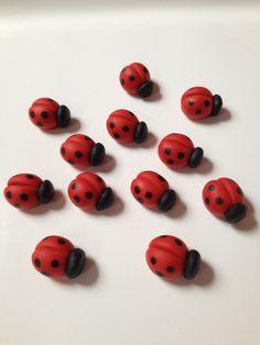 24 Edible Fondant 1'' Ladybugs for Cake, Cookie, Cupcake Decorations on Etsy, $20.00