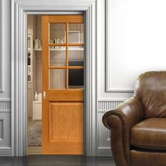 Single Pocket Doors Glass river thames oak single pocket door half light - etched clear