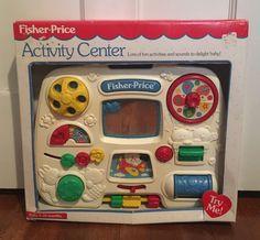 Vtg 1993 Fisher Price Crib Toy Activity Center Developmental W/ Straps & Box #FisherPrice