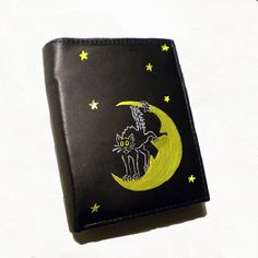 Black leather medium wallet  hand painted  women by DropsOfArt