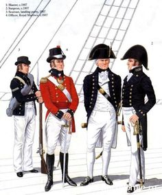 Heavy rifle company of Napoleonic wars of the infantry regiment of the British army, 1815 Soldat fusil compagnie de guerres napoléoniennes du régiment d'infanterie lourde de l'armée britannique, 1815 British Uniforms, Navy Uniforms, British Royal Marines, British Army, Naval History, Military History, Marine Francaise, Marine Officer, Man Of War