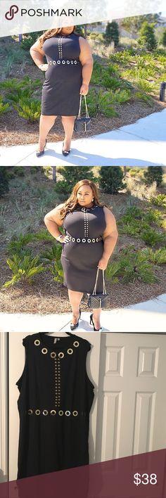 ASOS CURVE BLACK BODYCON DRESS Asos  black Bodycon dress with gold metal circle details ASOS Curve Dresses