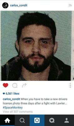 Black eyed drivers license photo of carlos condit, 3 days after robbie lawler fight Ufc Fighters, License Photo, Motivational Pictures, Black Eyed, Brazilian Jiu Jitsu