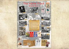 A fascinating A1 sized (84.1 x 59.4 cm) poster with information and images about the Home Front during WWII. Presented in an eye-catching design that will encou